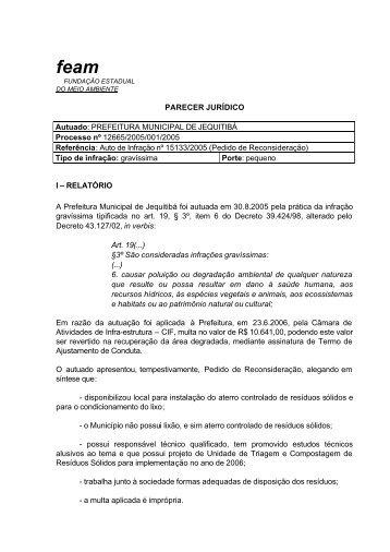 PARECER JURÍDICO Autuado: PREFEITURA MUNICIPAL DE ...