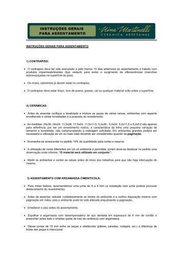 + Manual para Assentamento - HR Pisos e Revestimentos