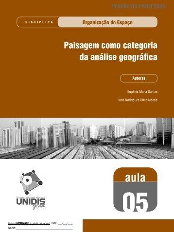 Paisagem como categoria da análise geográfica - SEAD/UEPB ...