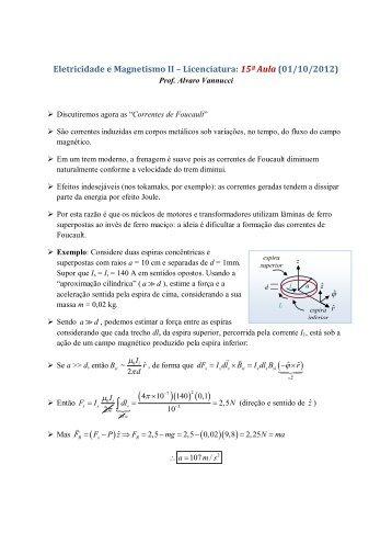 Eletricidade e Magnetismo II – Licenciatura: 15ª Aula (01/10/2012)