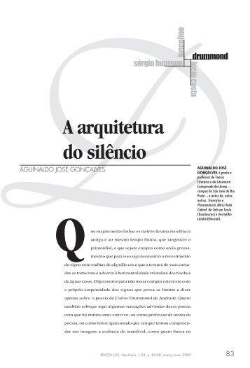 A arquitetura do silêncio Aguinaldo José Gonçalves - USP