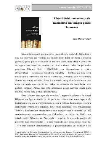 Humanismo e crítica democrática, de Edward Said - fflch - USP