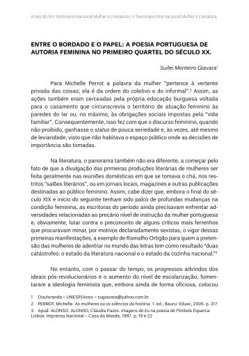 entre o bordado eo papel: a poesia portuguesa de autoria ... - TEL