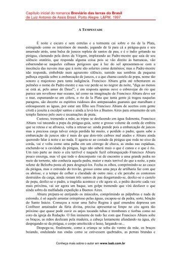 Leia um capítulo do livro - assis brasil