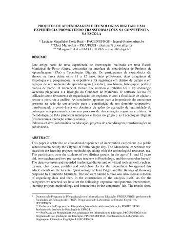PROJETOS DE APRENDIZAGEM E TECNOLOGIAS ... - Cinted - ufrgs