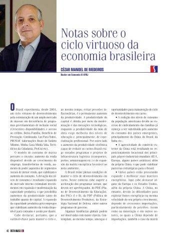Notas sobre o ciclo virtuoso da economia brasileira - Insight