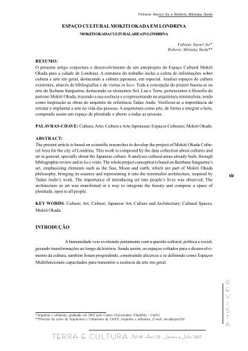 REVISTA TERRA E CULTURA - Nº 44 - Ano 23 - Janeiro a ... - UniFil
