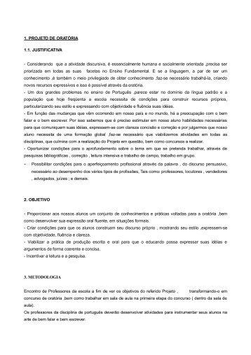 1. PROJETO DE ORATÓRIA 1.1. JUSTIFICATIVA - Estado do Paraná