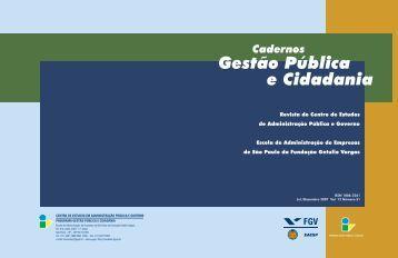 Cadernos Gestão Pública e Cidadania - Centro de Estudos em ...