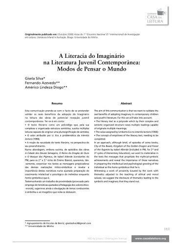A Literacia do Imaginário na Literatura Juvenil Contemporânea ...
