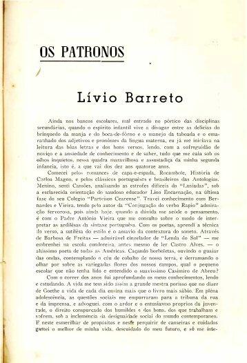 Os Patronos: Livio Barreto - Gastão Justa
