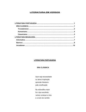 literatura em versos literatura portuguesa ... - Aspometron