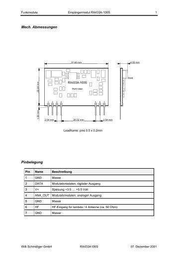 Mech. Abmessungen Pinbelegung - Schmidiger GmbH
