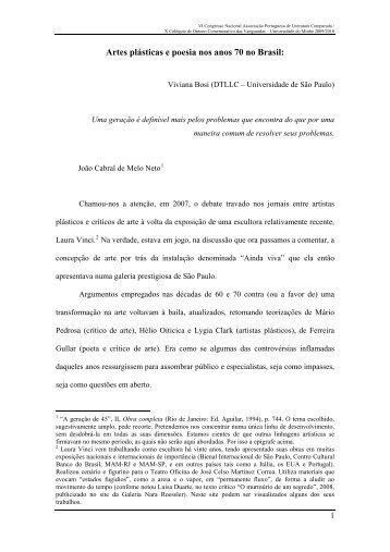 Artes plsticas e poesia nos anos 70 no Brasil: - Universidade do Minho