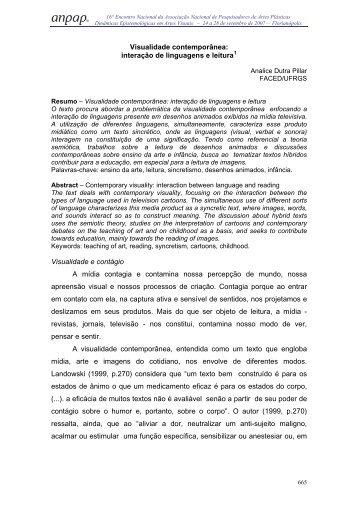 Visualidade contemporânea: interação de linguagens e ... - anpap