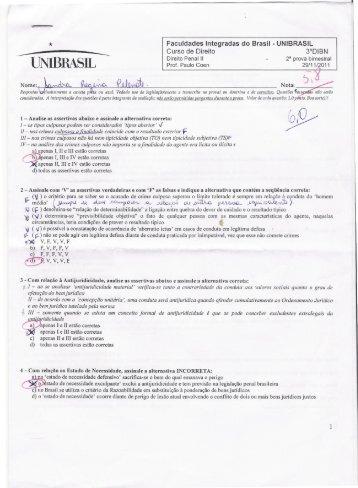 prova penal 2 bimestre.pdf - Direito Unibrasil