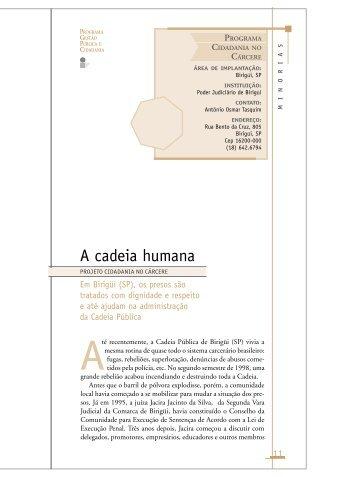 A cadeia humana - Projeto Cidadania no Cárcere - FGV-Eaesp