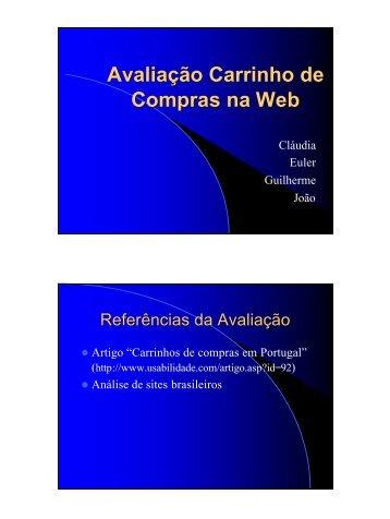 Avaliação Carrinho de Compras na Web Conclusão - DCC/UFMG
