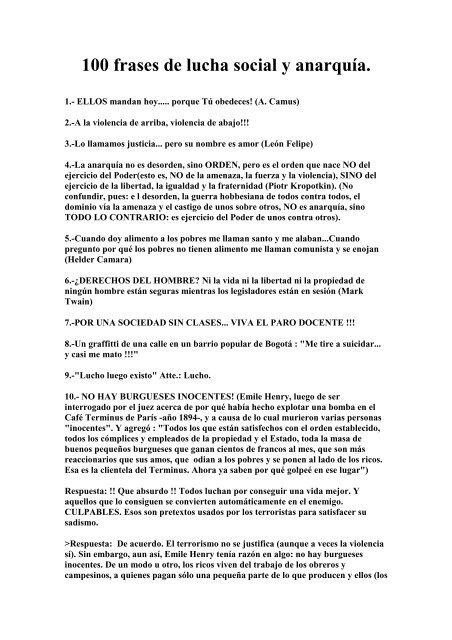100 Frases De Lucha Social Y Anarkia Cgt Lkn Euskadi