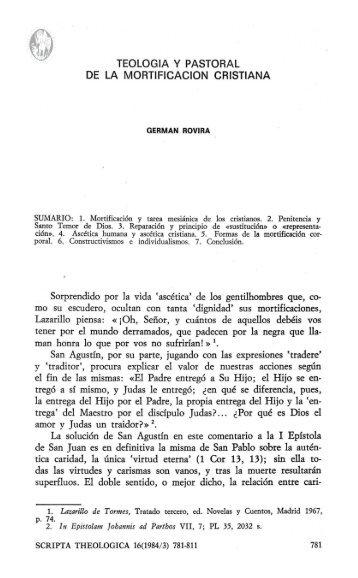 TEOLOGIA y PASTORAL DE LA MORTIFICACION CRISTIANA