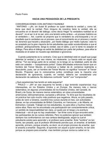 Paulo Freire HACIA UNA PEDAGOGÍA DE LA PREGUNTA ...