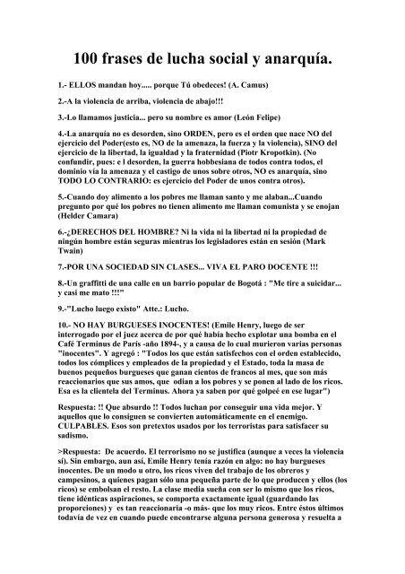 100 Frases De Lucha Social Y Anarquía