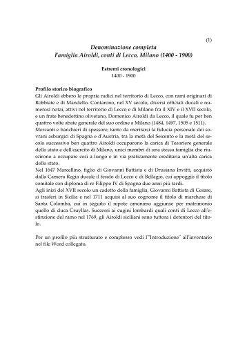Inventario Archivio di Casa DEF con indice per ... - Villa San Valerio