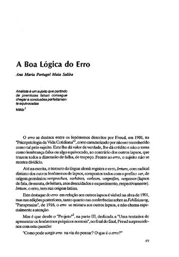 A Boa Lógica do Erro - Escola Letra Freudiana