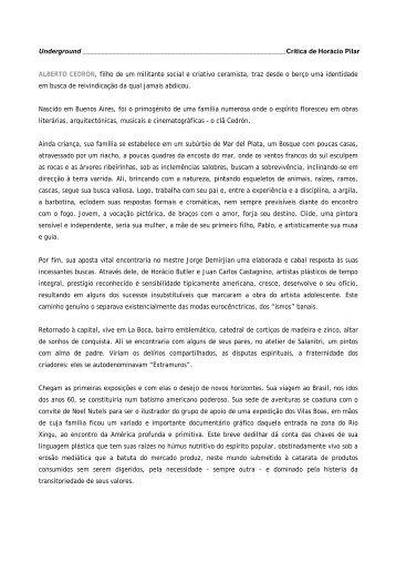 Alberto Cedrón - Crítica de Horácio Pilar - Movimento Arte ...