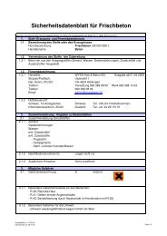 Sicherheitsdatenblatt für Frischbeton - Wyss Kies + Beton