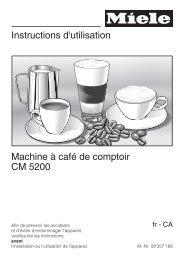 Instructions d'utilisation Machine à café de comptoir CM 5200 - Miele