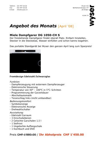 Angebot des Monats [April '08] - Wyser AG Bern