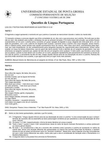 Língua Portuguesa - Universidade Estadual de Ponta Grossa