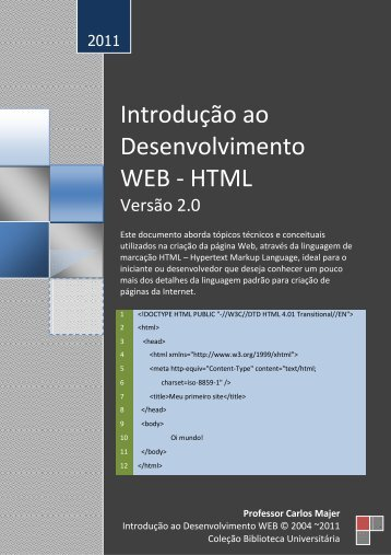 Introdução ao Desenvolvimento WEB - HTML - Blog do Majer