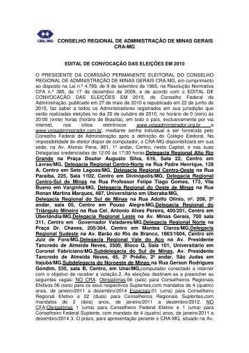 Edital de Convocação - CRA-MG