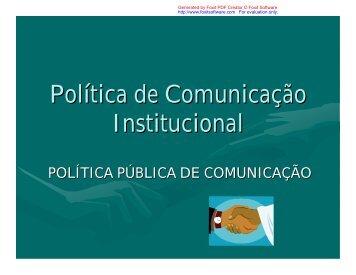 Política de Comunicação Institucional - Assembleia Legislativa do ...