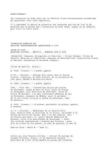 Serie E 2948-3993 - Histoire et Patrimoine du Vexin