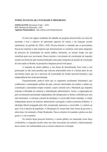 INSPEÇÃO ESCOLAR, CIVILIDADE E PROGRESSO ... - ANPEd