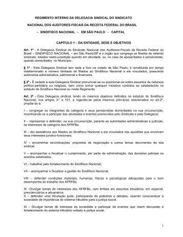 Proposta de Regimento para a Delegacia Sindical de