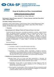 Grupo de Excelência em Ética e Sustentabilidade - CRA/SP