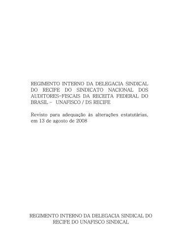 REGIMENTO INTERNO DA DELEGACIA SINDICAL DO ... - Unafisco