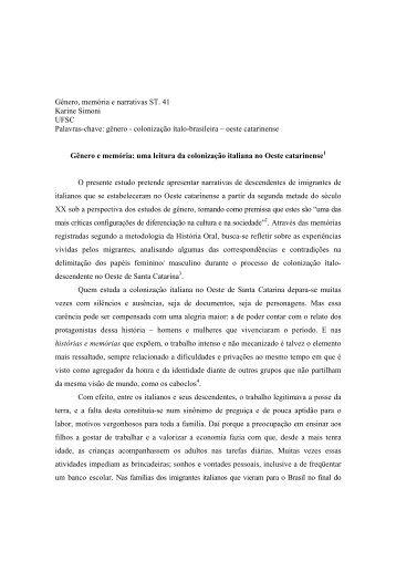 Gênero, memória e narrativas ST. 41 Karine Simoni UFSC Palavras ...
