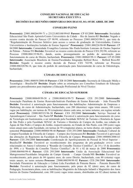 Pareceres Da Reunião De Abril 00 Ministério Da Educação