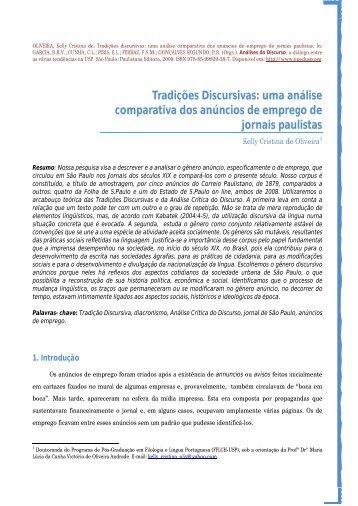 Tradições Discursivas: uma análise comparativa dos ... - EPED USP