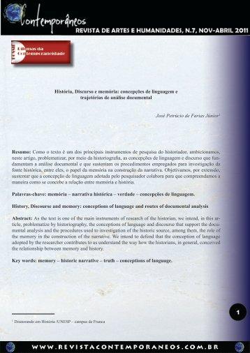 História, Discurso e memória - Revista Contemporâneos
