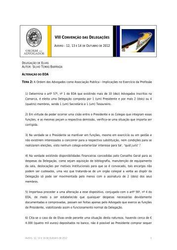 Comunicação da Delegação de Elvas > Alteração do EOA