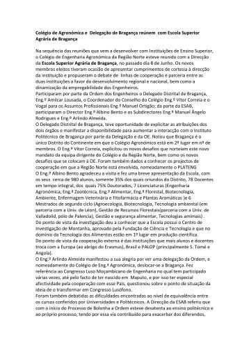 Colégio de Agronómica e Delegação de Bragança reúnem ... - OERN