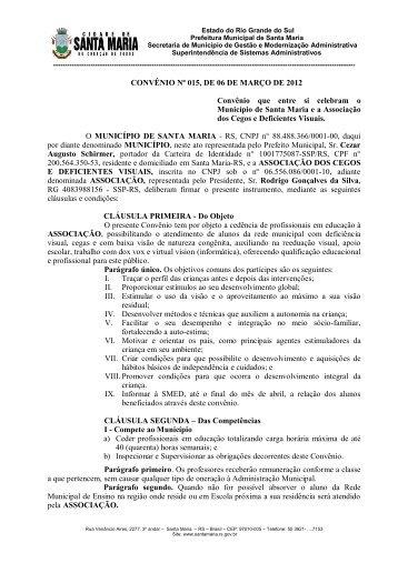 CONVÊNIO Nº 015, DE 06 DE MARÇO DE 2012 Convênio que ...