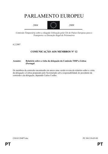 Relatório sobre a visita a Lisboa da Delegação - Ana Gomes