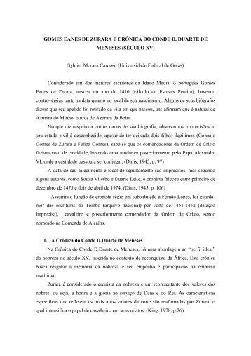 GOMES EANES DE ZURARA E CRÔNICA DO CONDE D